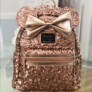 Loungefly Rose gold sequin backpack